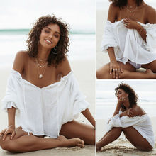Summer Women Sexy Beach Cover-up Long Ruffles Sleeve Cover-up Bathing Suit Beach Wear Pareo Swimwear Mesh Beachwear Off Shoulder