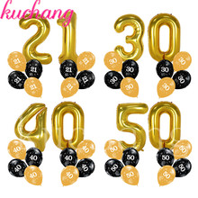 10pcs/lot 40inch 21th 30th 40th 50th birthday balloon party decorations number adult gold black
