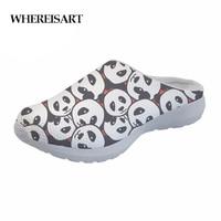 WHEREISART Cute Women Slippers Cartoon Panda Pattern Summer Breathable Mesh House Slippers Woman Flat Sandals Casual Shoes