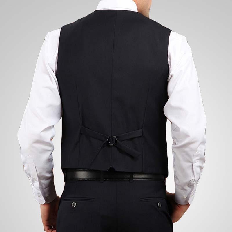 V-Neck Mens Suit Vest Dress Brand Clothing Business Casual Slim Wedding Waistcoats Formal Vest Black Colete