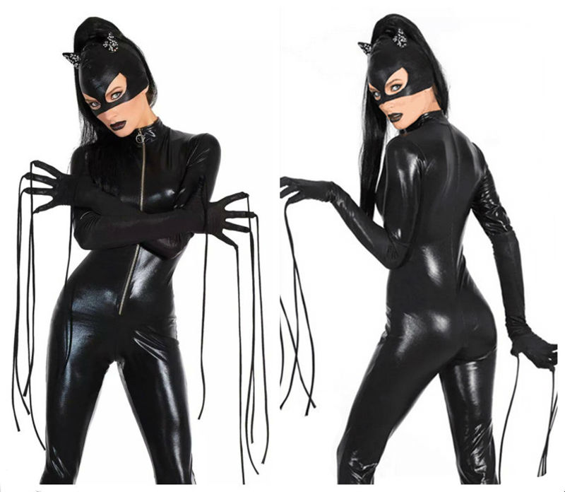 2016 new sexy cat suit fancy dress shiny super hero black animal leather catwoman costume halloween - Heroes Halloween Costumes
