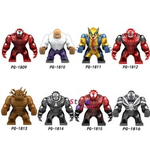Single Big Size Avengers Infinity War Super Heroes Wolverine Venom Deadpool Agent Kingpin Figure Building Blocks Toys(China)