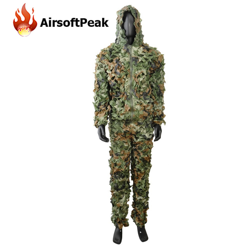 ФОТО 3D Leaf Camouflage Ghillie Suit Hunting Photography Zipper Uniform Military Training Disguised Breathable Clothing Set