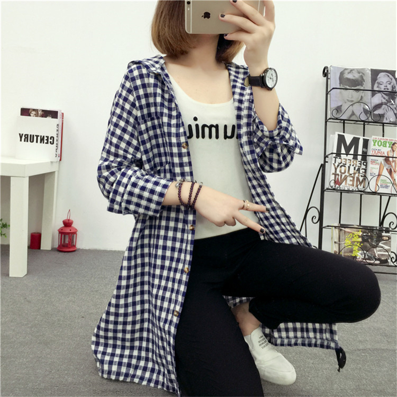 Brand Yan Qing Huan 2018 Spring Long Paragraph Large Size Plaid Shirt Fashion New Women's Casual Loose Long-sleeved Blouse Shirt 4