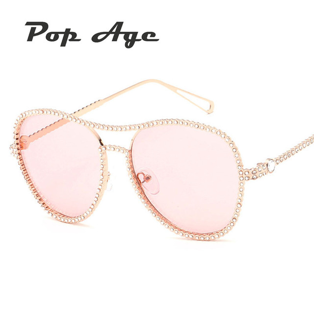 7853688a4f Pop Age New Ocean Pink Round Diamond Sunglasses Women Metal Frames Glasses  High quality Eyeglasses For Female Lunettes de soleil