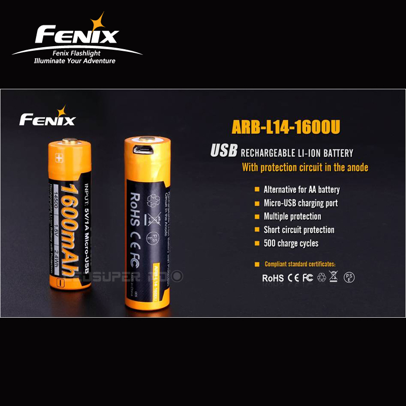 Factory Price Fenix ARB-L14-1600U 1600mAh USB Rechargeable Li-ion Battery with Short Circuit Protection