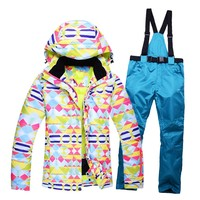 High Quality Women Skiing Jackets Pants Snowboard Sets Thick Warm Winter Female Colored Printed Ski Suit Hooded Windbreaker Coat