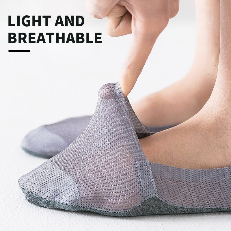 Ultra-Thin Ice Silk Short  Low Cut  Cotton Invisible Socks Men No Show Short Crew Male Silica SocksGel Antiskid Summer