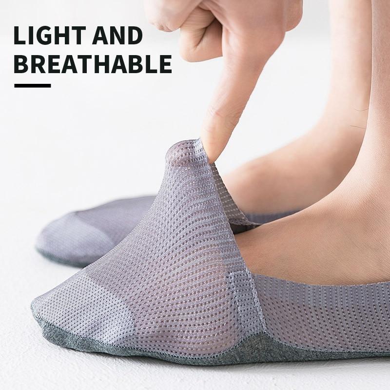 Ultra-Thin Ice Silk Short  Low Cut  Cotton Invisible Socks Men No Show Short Crew Male Silica SocksGel Antiskid Summer