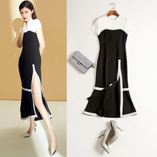 2017 summer new Sui with black and white short sleeved stitching slim slim long slit in sexy dress