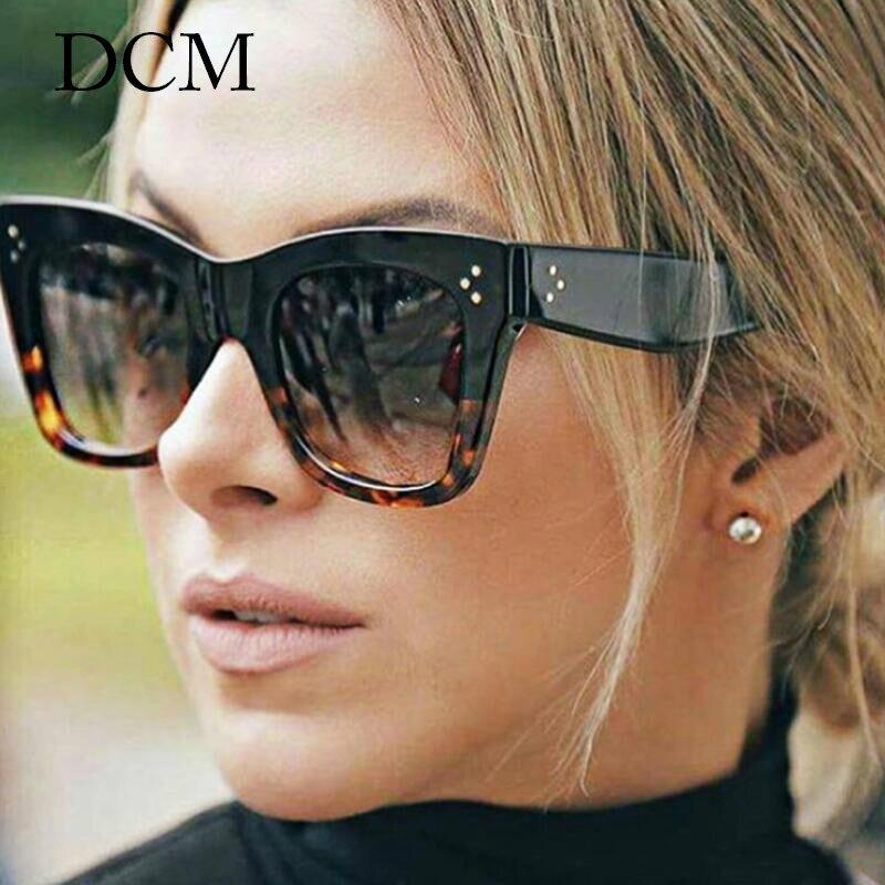 DCM Fashion SquareLeopard Sunglasses Vintage Women Brand Designer Plastic Frame Ladies Sun Glasses Oculos De Sol Feminino UV400