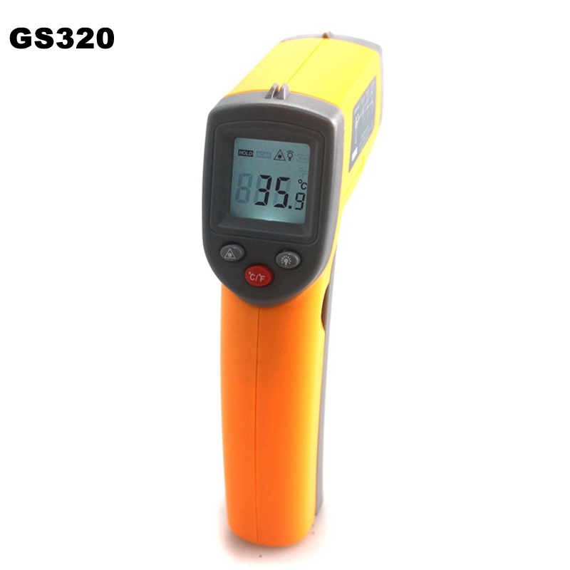 GS320 Red Laser Infrared Thermometer 50 360C 58 680F Non Contact Pyrometer LCD Temperature Meter Gun