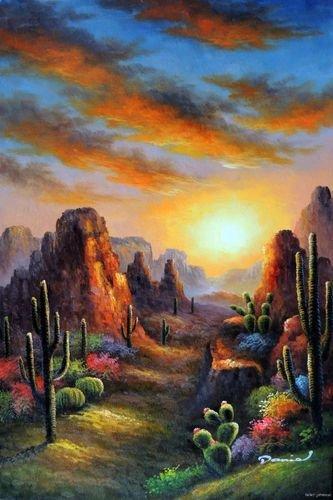 Arizona Sunrise Desert Saguaro Cactus Buttes Painting Oil
