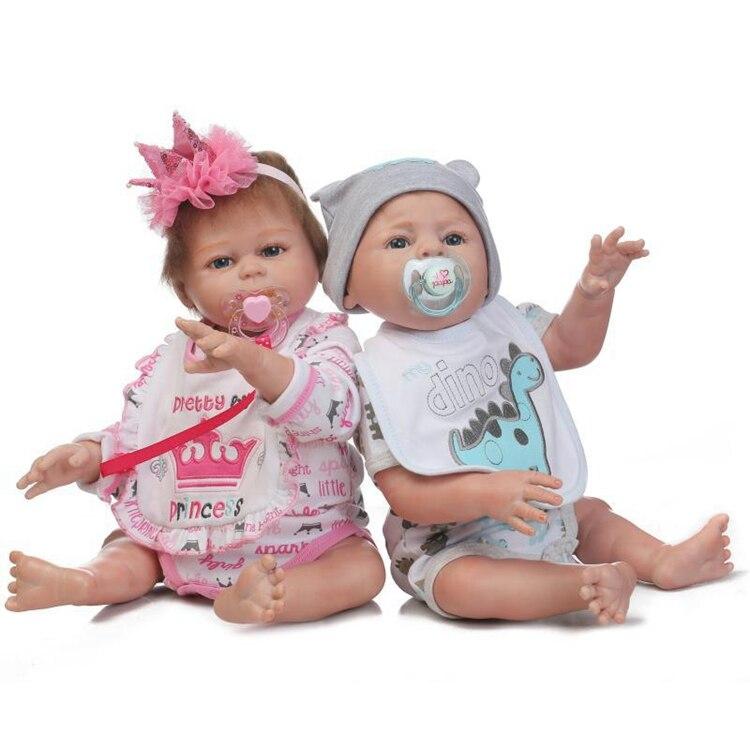 2PCS Twins Full Body Silicone Vinyl Boy Girl Handmade Baby Reborn Xmas Gifts New