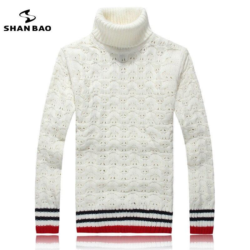 shan bao marca caliente grueso de los hombres de cuello alto hollow 65 costuras de