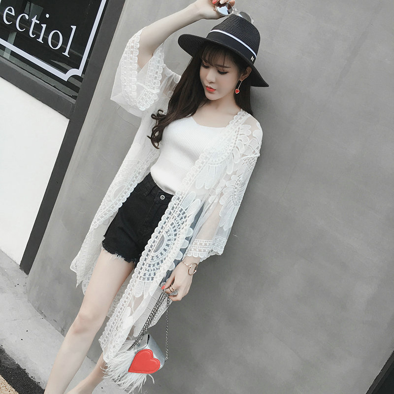 White Lace Embroidery Cardigan Transparent Beach Sunscreen Long ...