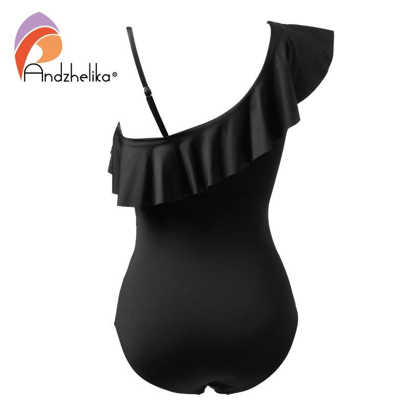 Andzhelika Sexy One Piece Swimsuit Women Swimwear  One Shoulder Swimwear Ruffle Mesh Bodysuits Beach Swim Suit Bathing Suit