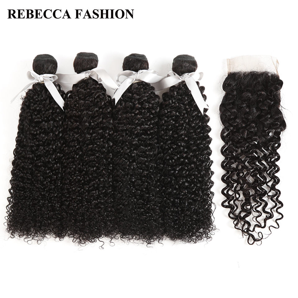 Rebecca Brazilian Curly Weave Hair 4 Bundles With Closure Non Remy Human Hair Bundles With 4x4 Lace Closure Hair Extensions