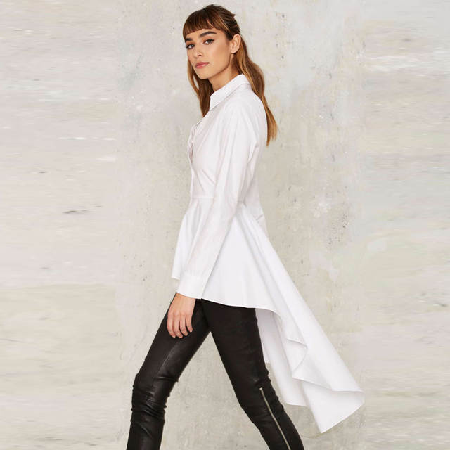 5d5e8b6b8df31 placeholder IRISIE Women White Casual Single Breasted Blouse Shirt High Low  Ruffle Female Shirt Tops Frill Ruched