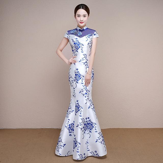 fashion blue and white porcelain cheongsam long modern