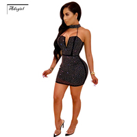 Adogirl Women Bodycon Diamonds Spaghetti Strap Mini Dress Sexy Sleeveless Club Wear Elegant Party Dresses Female