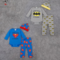 Baby Boys Clothes Autumn Kids Superman Clothing Set 3pcs Cotton Long Sleeve Romper + Pant + Hat Sets Newborn Girls Clothes