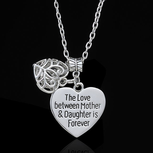 'Mother's Love is Forever' Two Hearts Necklace