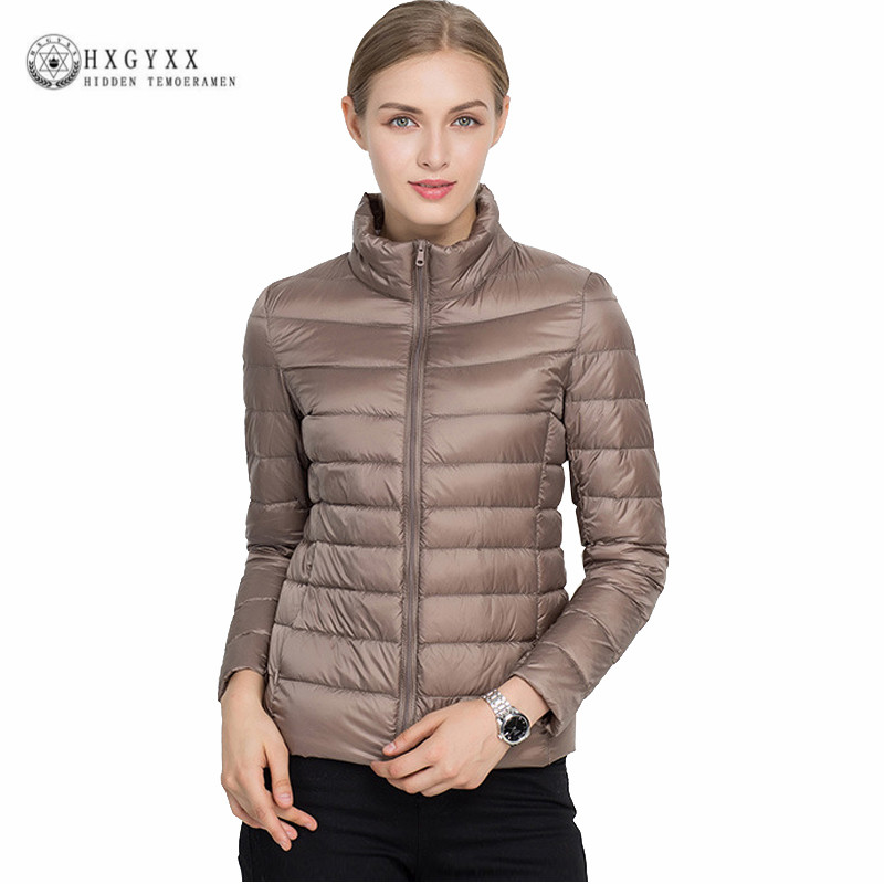Plus Size 90 % White Duck   Down     Coat   2019 New Autumn Winter Puffer Jacket Women Ultra Light Solid Color Zipper Warm Parka Ok386