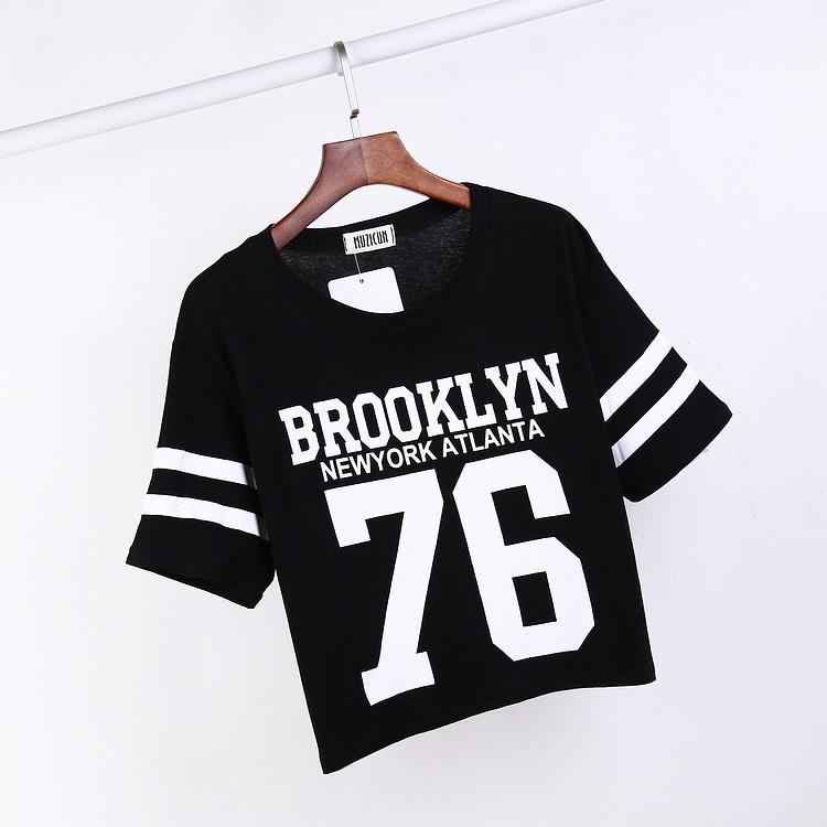 fb3d12d83734e 2018 الصيف نمط جديد البيسبول T قميص النساء المطبوعة 76 إلكتروني قمم السيدات  رواج المتناثرة الأبيض القطن بلايز Camisetas موهير
