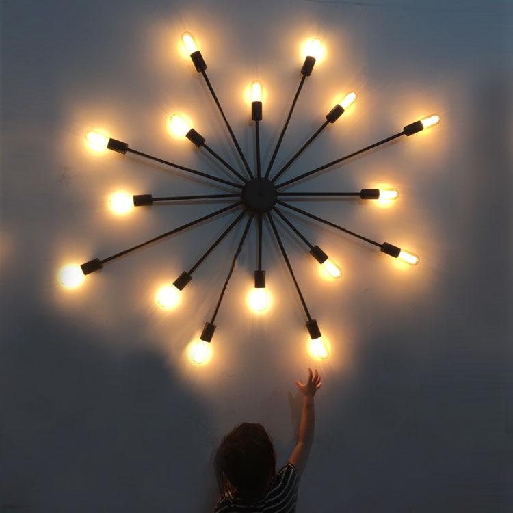 Loft Vintage Industrial Designer Black Iron Star Pendant Light Bar Restaurant Personality Bedroom Hanging Lighting Hanging Lamp