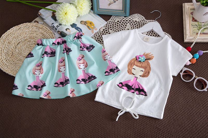 Toddle Girls Clothes New Summer Fashion Style Cartoon Dolls Printed T-Shirts+tutu Skirt 2Pcs clothing sets Baby Girls Suits