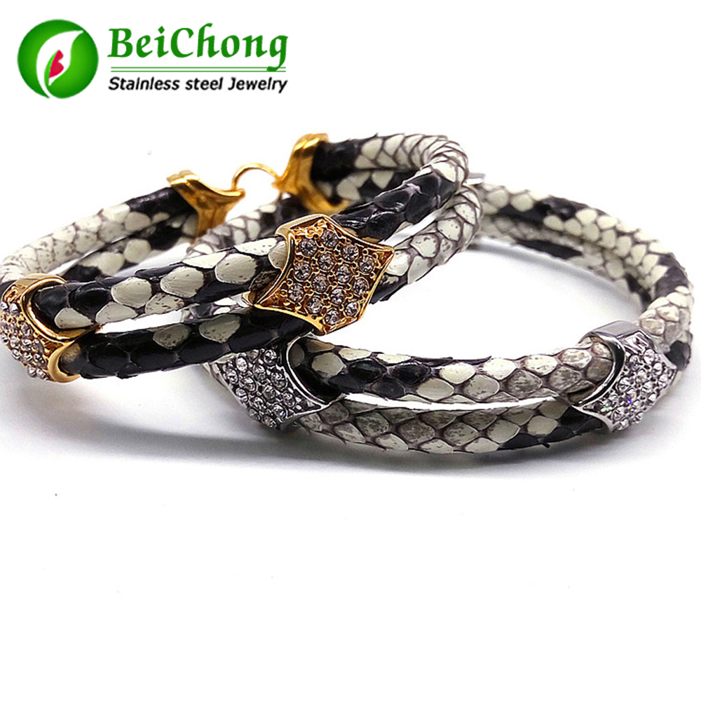 (10 pieces/lot) Mens Python Skin Leather Bracelets Real Python Bracelet With Rose Gold Real Stainless Steel Clasp