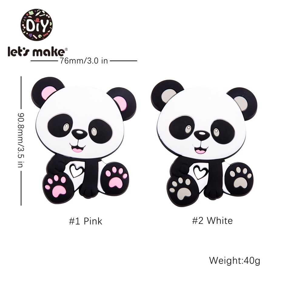 Let s Make 20pc Silicone Teether Cute Cartoon Panda Shaped Silicone Beads Baby Shower Gift Diy