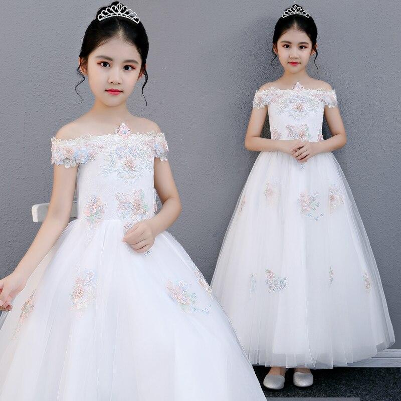 2018Summer New Children Girls Elegant Shoulderless Birthday Wedding Party Princess Flowers Long Dress Kids Baby Piano Host Dress