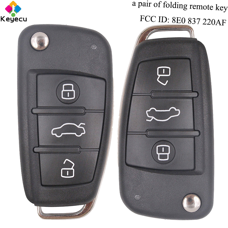 KEYECU Pair Replacement Keyless Entry Folding Remote Key - 3 Buttons & 433MHz & 8E Chip & FOB for Audi Q7 FCC ID: 8E0 837 220AF keyecu replacement remote key 2 buttons