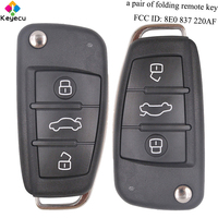 KEYECU Pair Replacement Keyless Entry Folding Remote Key 3 Buttons & 433MHz & 8E Chip & FOB for Audi Q7 FCC ID: 8E0 837 220AF