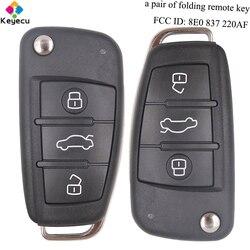 Wymiana pary KEYECU dostęp bezkluczykowy składany klucz zdalny-3 przyciski i 433MHz i 8E Chip i FOB dla Audi Q7 FCC ID: 8E0 837 220AF