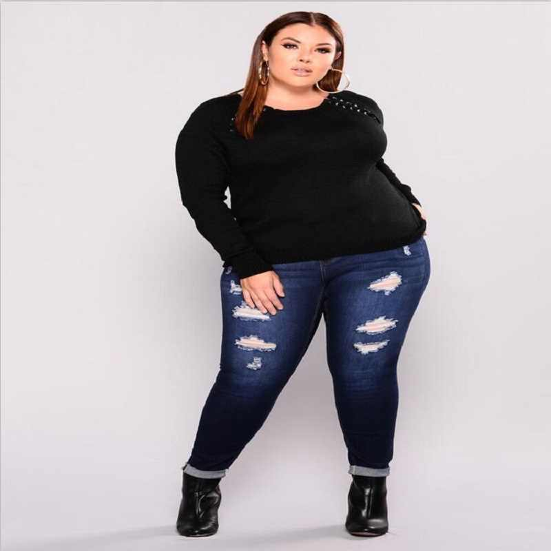 34328bbb248 H Hole Jeans Large Size Woman Push Up Ripped Jeans Plus Size Stretch  Distressed