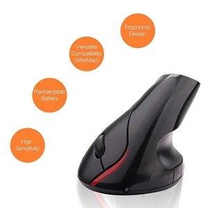Image 5 - Беспроводная Вертикальная мышь 2,4 ГГц, эргономичная оптическая электронная мышь 2400DPI с USB Приемником, черный АБС пластик, для ноутбука, ПК, компьютера