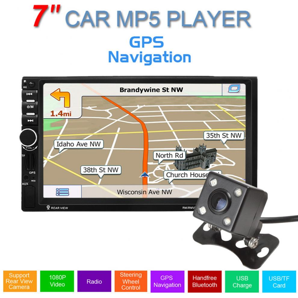 REAKOSOUND GPS 7inch Touch Screen Support hands-free calls Car Stereo Radio MP5 FM Player + 420 TV Lines IR Camera 9 inch car headrest dvd player pillow universal digital screen zipper car monitor usb fm tv game ir remote free two headphones