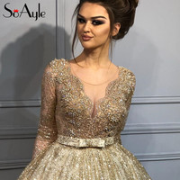 SoAyle Sheer Ball Gown 2018 Prom Dresses Illusion Gold Lace Heavy Beading  Evening Dresses Long Vestidos 44e12f8ebce4