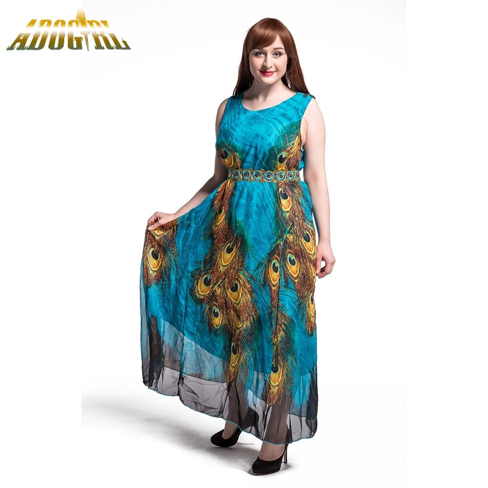 Adogirl Women Peacock Summer Dress Plus Size 7XL 8XL 6XL Vintage Long Maxi  Dresses Bohemian Chiffon Dresses Vestidos De Fiesta