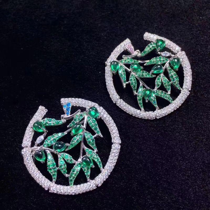 Color Verde de alta calidad 925 Plata de ley con zirconio cúbico bambú stud pendiente moda mujer joyería envío gratis 29MM
