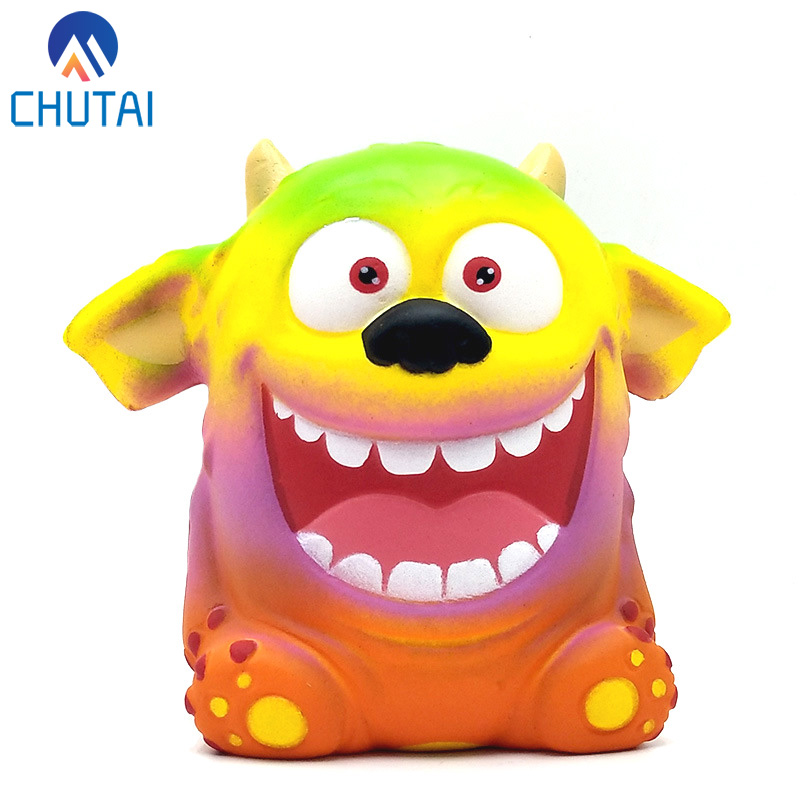 Creative Cartoon Colorful Demon <font><b>Squishy</b></font> Slow Rising Squeeze <font><b>Toys</b></font> Halloween <font><b>Big</b></font> Ear Monster Boy Girl <font><b>Toys</b></font> Gift 11*7.5CM image