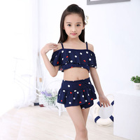 Children Skirt Swimsuits 2Pcs Kid Baby Girl Straps Dots Print Swimwear Bathing Bikini Set Clothes Outfits
