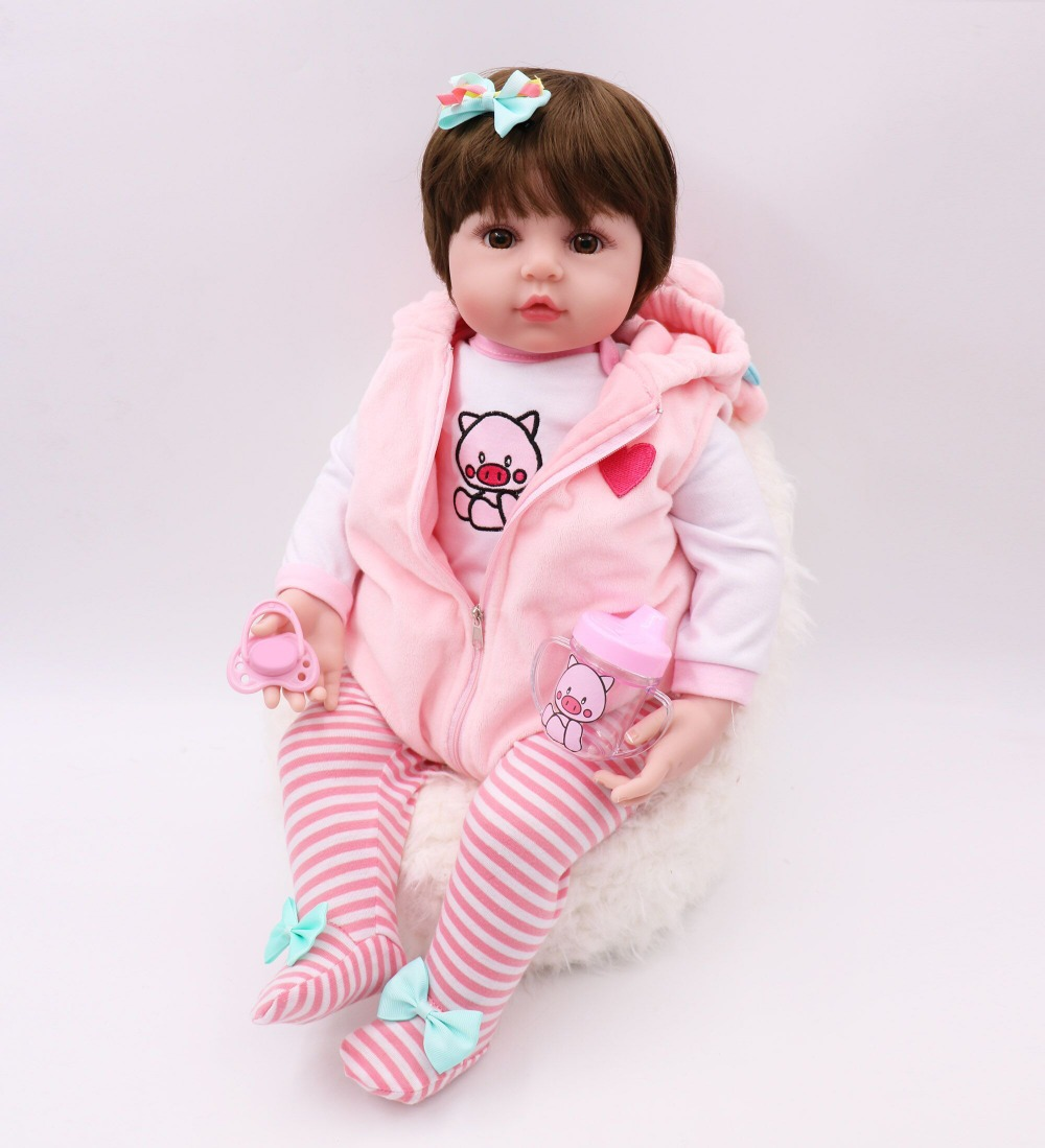 47CM lifelike reborn toddler bebe doll reborn baby girl soft silicone vinyl stuffed body Christmas surprise