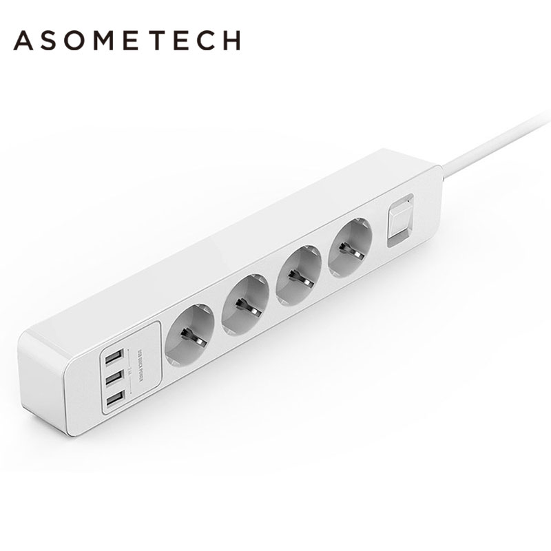 Tablets Smart USB Power Strip Socket EU Plug Overload Switch Surge Protector with 3 Outlet 3 Port USB Charger+ 1.5M Power Cord portable travel power strip surge protector with 4 smart usb ports multi port wall charger desktop hub charger socket qj