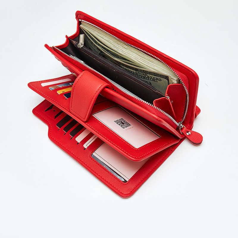 Кошелек женская кожаная сумочка кошелек для отдыха 3 раза высокое качество женские портмоне много карт слот кошельки Carteira Feminina