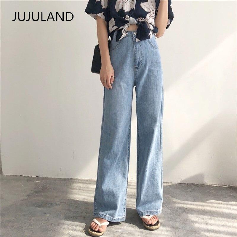 JUJULAND 2019 New   Jeans   For Women High Waist   Jeans   Woman Blue Denim Straigh Pants Stretch Waist Women   Jeans   Pants Calca Feminina