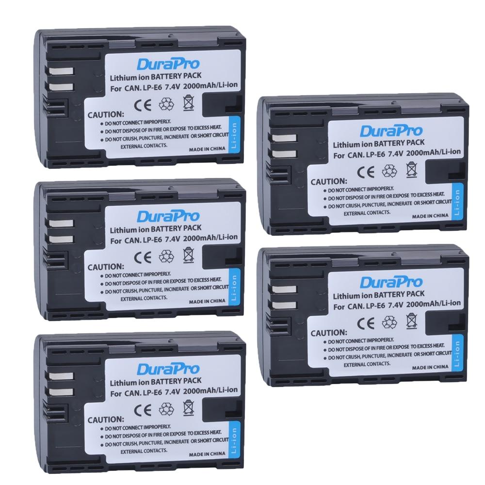 5pc LP-E6 LPE6 LP E6 LP-E6N Camera Battery For Canon EOS 5DS R 5D Mark II 3 5D Mark III 6D 7D 60D 60Da 70D 5DS R EOS Wholesale